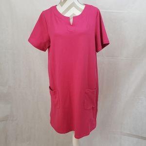 Susan Graver pink Shift with pockets dress Large